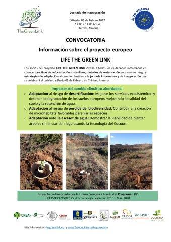 Invitation to the inauguration of the demonstration area in Chirivel, Almería