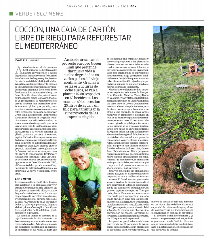 """The Spanish newspaper """"La Razón"""" writes about LIFE The Green Link and the Cocoon."""
