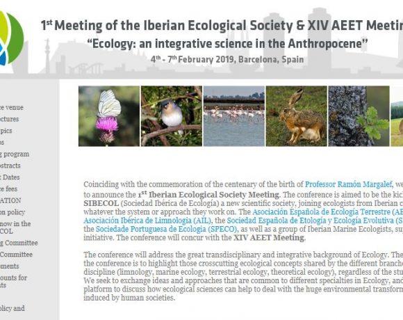 Invitación al primer congreso de la Sociedad Ibérica de Ecología y reunión de XIV AEET – próximo Feb 2019