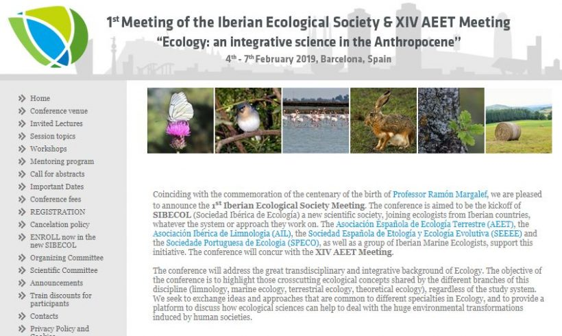 Invitation to the 1st Meeting of the Iberian Ecological Society & XIV AEET Meeting next Feb 2019