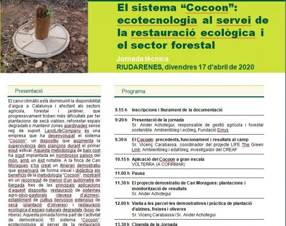 Invitation to a tech seminar about Ecologic Restoration in Riudarenes (Catalunya)