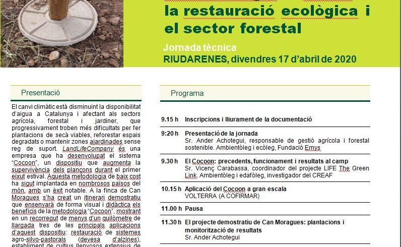 Invitación a una jornada técnica sobre restauración ecológica en Riudarenes (Cataluña)